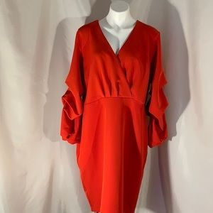Red dress with dramatic  puffed sleeve NWOT